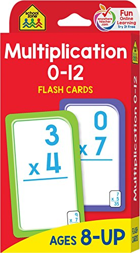 School Zone - Multiplication 0-12 Flash Cards, Ages 8+, Grades 3-4, Multiplication, Concentration, and More