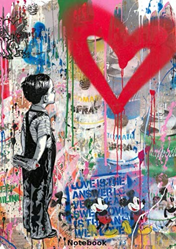 Notebook: With All My Love by Mr. Brainwash, Banksy style, Journal, Diary (110 Pages, 8.27